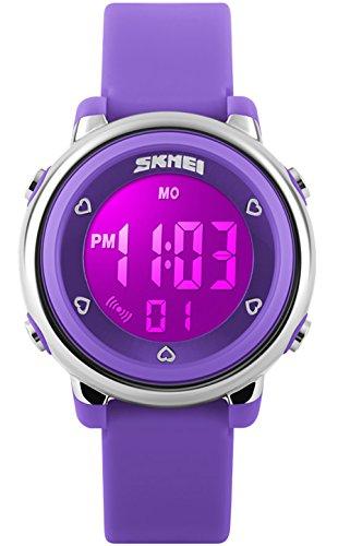CIVO Armbanduhr Jungen Mädchen Kinder mit 7 Farben LED Beleuchtung Digitaluhr Wecker Stoppuhr Wasserdicht Sport Multifunktion kinderuhren Silikon Band Uhr Violett