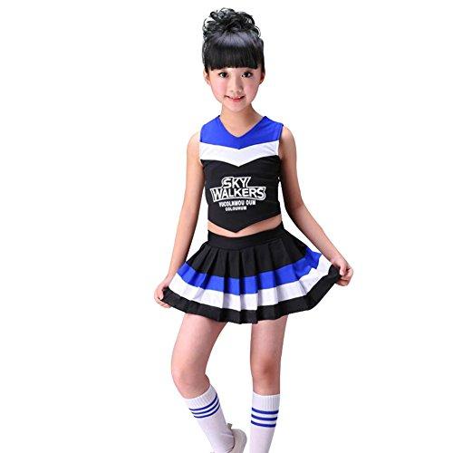 leader Kostüm Uniform Zweiteilig Karneval Fasching Party Halloween Weihnachten Kostüm Kleid Cheerleading Jazz Bekleidung mit Socks Schwarz 130 (Cheerleading Kostüme Kinder)