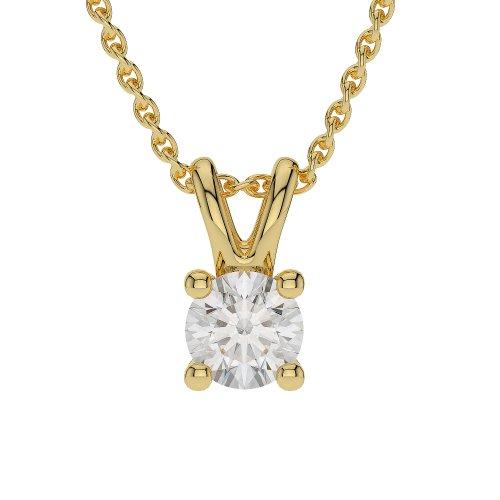 Or jaune 18carats 0.05CT G-H/VS sertie de diamants Forme ronde Solitaire Collier Agdnc-1009