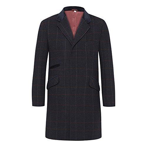 Herren Wollmischung Enge Passform Kariert Mantel Fischgrätenmuster Tweed Crombie Luxus Mantel Marineblau Kariert