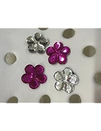 4 Diamond & Fuchsia Pink Gem Flower Shoe Charms for Crocs & Jibbitz Wristbands