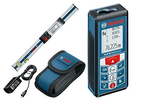 Bosch Professional Laser-Entfernungsmesser GLM 80 + R 60 (Messerschiene, Micro-USB-Ladegerät, Messbereich: 0,05 - 80 m, Neigungs-/Messgenauigkeit: ± 0,2º / ± 1,5 mm)