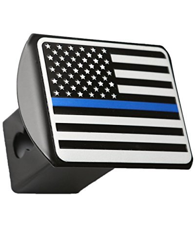 USA US American Reflective Flag Metal Emblem on Metal Trailer Hitch Cover (Fits 2 Receivers, Black & White with Reflective Thin Blue line) by eVerHITCH - Receiver Cover Hitch