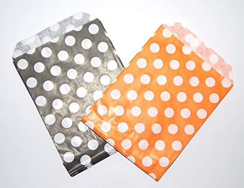 Celloexpress® Süßigkeitentüten aus Papier, Verschiedene Farben und Muster, 178 x 229 mm, 50 Stück, Poka Dot Black & Orange, 7