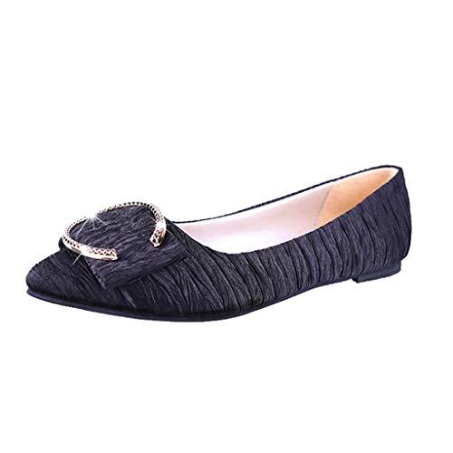 Yesmile Damen Mode Schuhe Damen Mode Spitz Schnallenriemen Flacher Pelzschaufel Schuhe Erbsen Schuhe Freizeit Einzelne Stiefel