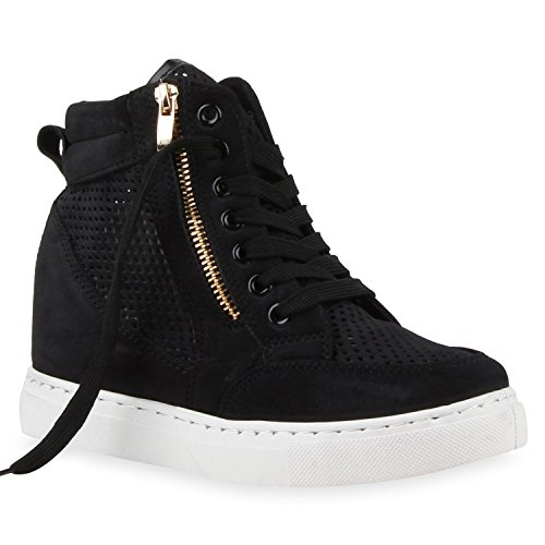 Damen Sneaker-Wedges Zipper Lederoptik Sneakers Cut-outs Schwarz