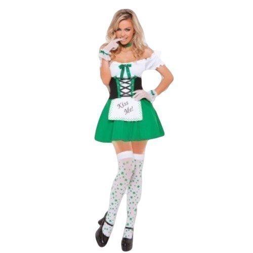 'm Irisch St.Patrick's Day Bier Mädchen Oktoberfest Kostüm Kleid Outfit UK 8-18 - Grün, 14 (Irische Kostüme Für Kinder)