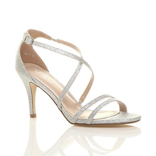 Womens ladies mid high heel strappy crossover wedding sandals shoes size 4...