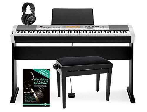 Casio-CDP-230R-SR-E-Piano-Digitalpiano-88-Tasten-silberschwarz-Deluxe-SET-mit-Pedal-Stnder-Bank-Kopfhrer-Schule