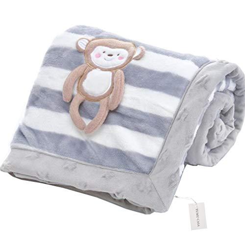 Yumu casa spessore baby flanella coperta doppio strato morbido coperta per neonato cartoon design per neonati e bambini, flanella, gray monkey, 75 * 100cm/29.5 * 39.4 inch