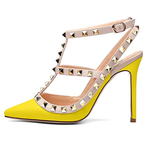 6bb925ad7d893 Women High Heels Pointed Toe Studded Strappy Slingback Leather Court Shoes  Pumps Stilettos Heeled Sandals Nude Pink Size 7UK 40 EU 41CN