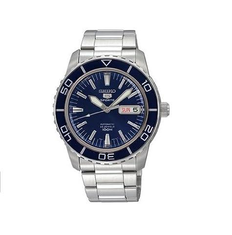 Seiko - SNZH53K1 - 5 Sports - Montre Homme - Automatique Analogique - Cadran Bleu - Bracelet Acier Gris