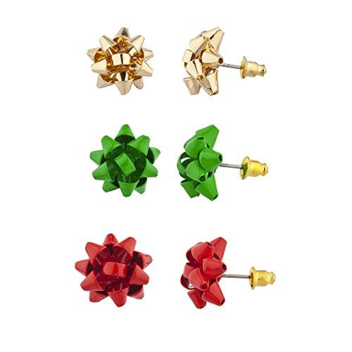 Lux accessori, colore: rosso, verde e oro natalizio fiocco Multi Orecchini Set di 3