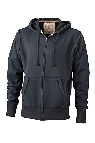 JN943 Men´s Vintage Hoody Jacke Sweatjacke Sweatshirt Kapuze, Farbe:Black;Herrengrößen:M (Vintage-pullover Gefütterte)