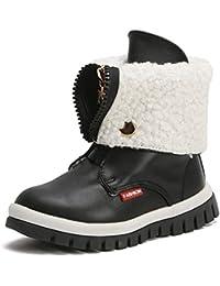 b821f276f Niñas de Invierno Botas de Nieve con Cremallera para niños Cálido Felpa  Mochila de algodón Acolchado Zapatos Martin Cuero Niños Invierno…