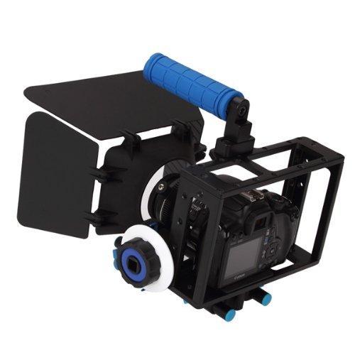 CAMSMART® universale professionale dei film Kit DSLR fotocamera gabbia RIG + Top Handle + asta in alluminio 15mm blocco piastra + Follow Focus + Matte Box per videocamera DSLR/DV come Canon 550 500 D 60 D 50 D 40 D 5D, 5D 2 5 3 1Ds, Nikon D700 D300 D90 D7000 D5000 D3100 D3000, Fuji, Olympus, Pentax SLR DSLR e così via (CAGE SET F)
