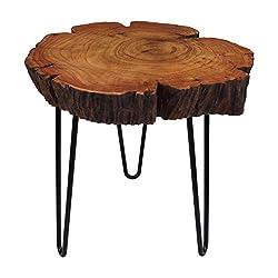 Cander Berlin MNT 0640 Beistelltisch Abstelltisch Akazie (40-45) x 45 cm Baumscheibe Metall Sofatisch Kaffeetisch Couchtisch Tisch Holz Massivholz rund Natur