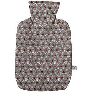 Wärmflaschenbezug in taupe Blümchen für 2 l Wärmflasche