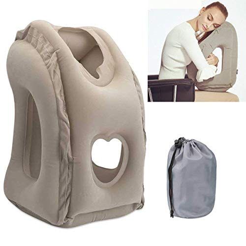 Aufblasbare Reisekissen Tragbare Kissen Nackenhörnchen, SGODDE Beflockung