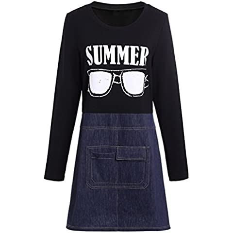Vestito le donne autunno e inverno splicing Denim Rendering ( colore : A , dimensioni (Ragazze Lungo Pannello Esterno Del Denim)
