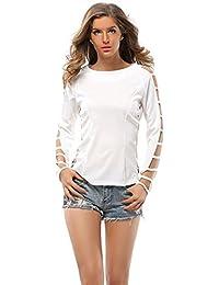 EOZY Casual Tunique Tops Lacet Femmes Blouse Couleur Solide T-Shirt