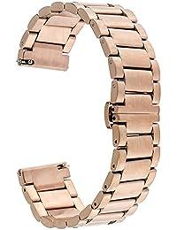 TRUMiRR 16 mm de acero inoxidable reloj de la venda de la mariposa de la hebilla de la correa de Moto 2 360 de 42 mm de la Mujer 2015, con la herramienta de eliminación de Enlace acondicionadas y de liberación rápida barra del resorte