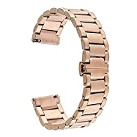 TRUMiRR 16mm Stainless Steel Watch Band Butterfly Buckle Strap for Moto 360 2 42mm Women's 2015, with Upgraded Link Removal Tool and Quick Release Spring Bar
