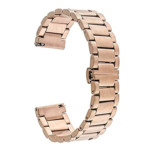 TRUMiRR 16mm Stainless Steel Watch Band Papillon Boucle Strap pour