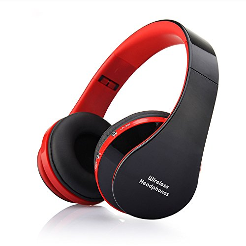 Soviton Stereo Kopfhörer Wireless Bluetooth Kopfhörer Headset mit Mikrofon MP3-Player microSD/TF Musik FM Radio Freisprecher für Smartphones Tablet PC Notebook Red + Black