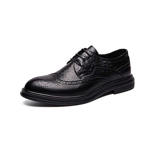 Apragaz Herren Oxford Schuhe Schlichter Stil Mikrofaser Lederschuhe Klassisch Gravierte Laufsohle Lässig Reine Farbe Schuhe (Color : Schwarz, Größe : 44 EU)