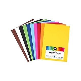 perfect ideaz 50 Blatt DIN-A3 Ton-Karton bunt, Bastel-Papier, Bogen durchgefärbt, 10 verschiedene Farben, 210g /m², Foto-Zeichen-Pappe zum Basteln, buntes Blätter-Set farbig, DIY-Bedarf