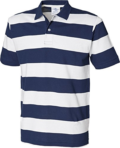 Front Row Herren Gestreift Pique Polo Shirt kurz Cuffed Sleeve Tee 2 Button oben Mehrfarbig - Navy / White