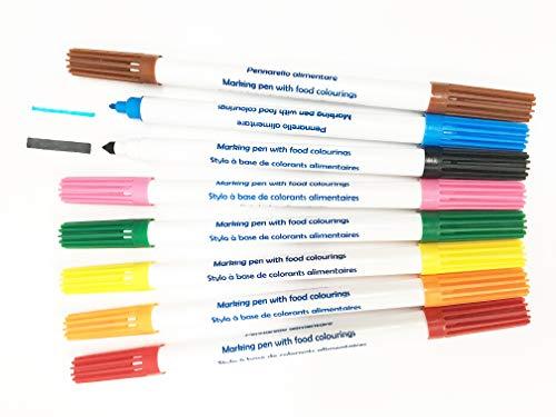 EPS Kuchendekoration, Stifte mit Lebensmittelfarbe, Essbare Tintenmarker, doppelseitig, 8Stück -