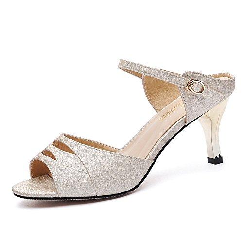 LISABOBO Scarpe donna estate tacco alto per abbigliamento casual Party    sera eleganti e confortevoli (colore   nero 6ed57f32c80