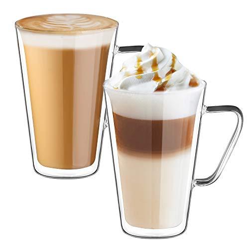 ecooe Doppelwandige Latte Macchiato Glaser Set Kaffeeglas mit Henkel 2-teiliges 450ml (Volle Kapazitat) φ9.5 * 14cm