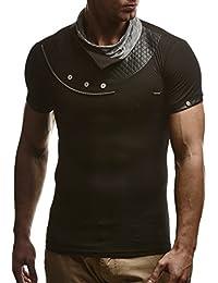 LEIF NELSON Herren T-Shirt Tiefer Rundhalsausschnitt   Kurzarm-Shirt Fashion Slim Fit   Männer T-Shirt lang Kleidung Männer