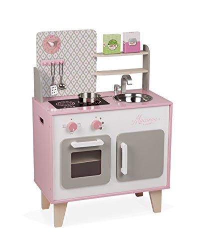 Janod J06567 Küche Macaron groß (inkl. 5 Teile Zubehör) (Mädchen Spielzeug Küche)