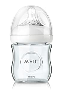 Philips Avent SCF671/17 Biberon Natural Anticoliche per Allattare in Modo Naturale, Vetro, 120 ml