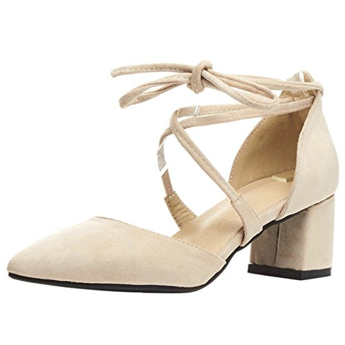 COOLCEPT Damen Mode Schnurung Sandalen Geschlossene Blockabsatz Schuhe Beige