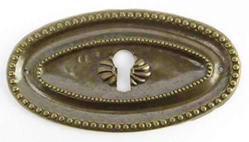 Beschlag oval Messing Schlüsselloch Rosette Schrank Schublade Schranktür Messing waagerecht -