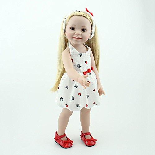 Reborn Babypuppe Simulation Silikon Vinyl Realistische Lebensechte Prinzessin Lange Blonde Haar 18 Zoll 48cm Realistische Spielzeug Kinder Geburtstag Geschenk (Haare, Blonde 18-zoll-puppen)