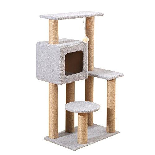 Eine natürliche Sisal Katze spielen Türme Kratzbaum stabile Struktur Spielzeug springenden Tisch, Heimtierbedarf (Farbe : Gray) -