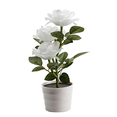 LEDMOMO Solar Flower Pot LED-Licht Rose Blume Tischlampe 3 Lichter Blume LED flexible Blume Schreibtischlampe für Home Garden Room Dekoration (weiß)