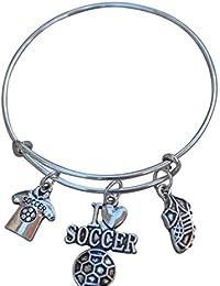 Pulsera de fútbol, fútbol joyas, las niñas pulsera de fútbol bracelet- fútbol encanto