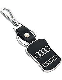 Gratitude Audi Car Logo Leather-Metallic Locking Keychain/Key Chain/Keyring/Key Ring