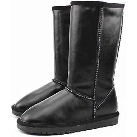 GAOTONG impermeable botas para la nieve tendón en las botas de nieve de cuero genuino final Sra caliente plana con botas altas , waterproof black , 35