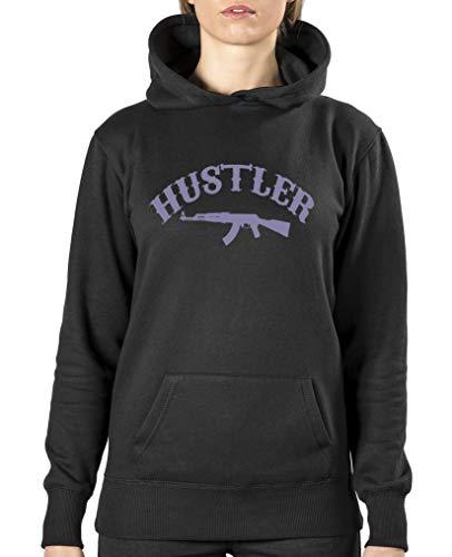 Hustler Top Shirt (Comedy Shirts - Hustler - Damen Hoodie - Schwarz/Violett Gr. L)