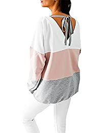 Yidarton Femme T-shirt Manches Longues Sexy Épissure Cou Rond Grande Taille Tops Automne Hiver