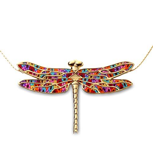 Pendentif Libellule d'Or et Fimo - Collier de designer fait main - Bijoux fantaisie de qualité - Cadeau pour elle Millefiori