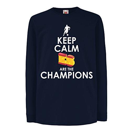 T-shirt bambini/ragazze gli spagnoli sono i campioni, il campionato di russia il 2018, la coppa mondiale - la squadra di calcio di camicia di ammiratore della spagna (14-15 years azzulo